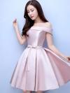 ชุดออกงานราตรีสั้นสีชมพู เปิดไหล่ กระโปรงทรงบาน สวยหรู น่ารัก สไตล์เจ้าหญิง สำเนา