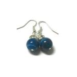 ต่างหูหินนำโชค อาเกตสีฟ้า Blue Agate Earring