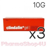 (ซื้อ3 ราคาพิเศษ) Clindalin Gel คลินดาลิน เจล 10 กรัม เจลแต้มสิวหลอดสีแดง ที่ช่วยรักษา สิวอุดตัน หัวสิวยุบเร็ว