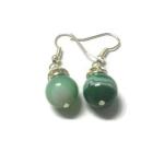 ต่างหูหินนำโชค อาเกตสีเขียว Green Agate Earring