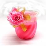 เทียนหอมในแก้ว สีชมพู กลิ่น กุหลาบ [ROSE]