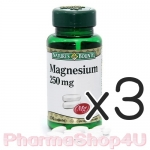 (ซื้อ3 ราคาพิเศษ) Nature's Bounty Magnesium 250 mg บรรจุ 100 เม็ด เนเจอร์ส เบาวน์ตี้ แมกนีเซียม ส่งเสริมการทำงานระบบประสาท บรรเทาอาการไมเกรน ซึมเศร้า เครียด