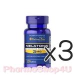 (ซื้อ3 ราคาพิเศษ) Puritan Melatonin 3mg 120เม็ด เมลาโทนิน ช่วยให้นอนหลับได้ง่ายขึ้น หลับสนิทมากขึ้น ปรับเวลาการนอน