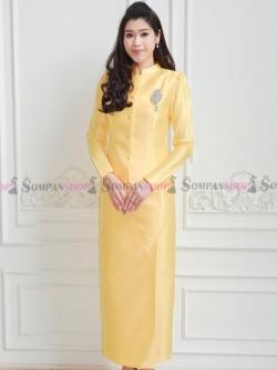 ชุดไทยจิตรลดาสีเหลือง เซ็ท 2 ชิ้น เสื้อผ้าไหมกระดุมหน้า บ่ายกจีบตรงหัวไหล + กระโปรงทรงสอบยาวผ่าหน้า : พร้อมส่ง M L XL 2XL