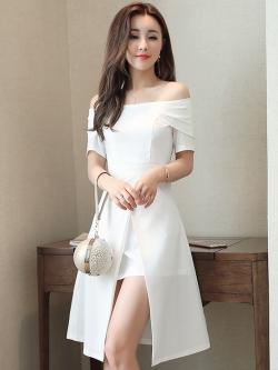 ชุดเดรสสีขาว เปิดไหล่ แขนสั้น ดีไซน์สวยเก๋ เหมาะสำหรับใส่ออกงาน ใส่ไปงานแต่งงาน