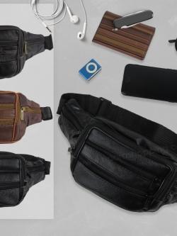 กระเป๋าหนังคาดเอว 2ซิปหน้า