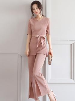 ชุดเซ็ท 2 ชิ้นสีชมพูกะปิ เสื้อ + กางเกงขายาว