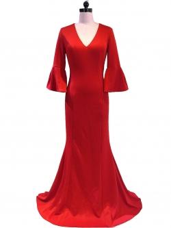 ชุดราตรียาวสีแดง แขนสามส่วน เข้ารูป ลุคเรียบหรู สวยดูดี ใส่ออกงาน ไปงานแต่งงาน งานเลี้ยง