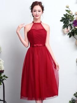 ชุดราตรีสีแดง เปิดหลัง ลุคสวยหวาน เรียบหรู ดูดี ใส่ออกงาน ไปงานแต่งงาน ชุดเพื่อนเจ้าสาว
