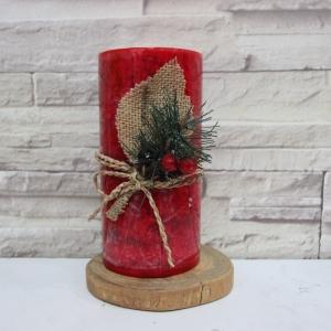 เทียนหอมคริสมาสต์ เทียนแท่งตกแต่งบ้านขนาด 3x6 นิ้ว [กลิ่นชินนาม่อน]