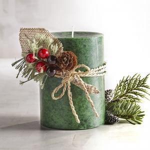 เทียนหอมแท่ง สีเนื้อ ขนาด 3 x 4 นิ้ว กลิ่น Wreath [ต้นสน]