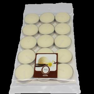เทียนหอมทีไลท์ [Tealight Candle] กลิ่น วนิลา [Vanilla] 15 ชิ้น ต่อแพ็ค