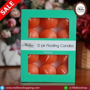 เทียนหอมลอยน้ำ [Floating Candle] กลิ่นส้ม (ORANGE) 12 ชิ้น ต่อแพ็ค