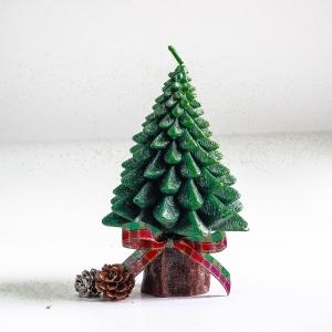 เทียนต้นสนคริสมาสมีฐานไร้กลิ่น แบบ A [13 cm / 208 g]