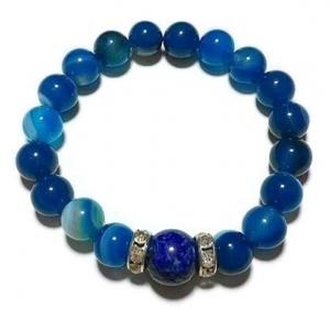 อาเกตสีฟ้า+ลาพิซ ลาซูรี่ 8 มม./Blue Agate+Lapis Lazuli 8 mm.