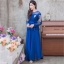 ชุดเดรสยาวออกงานยาวสีน้ำเงินกรมท่า แขนยาวแต่งลูกไม้ แนวเรียบหรู สวยสง่า สไตล์ผู้ใหญ่ เหมาะสำหรับใส่ออกงาน ไปงานแต่งงาน ชุดถือขันหมาก ชุดแม่บ่าวสาว