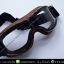 แว่นคาดหมวกกันน็อค แนววินเทจ ขอบน้ำตาลเข้ม เลนส์สีใส thumbnail 2
