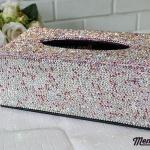 กล่องใส่ทิชชู่เพชร สีชมพูและสีขาวผสมสีรุ้ง กว้าง15 ยาว26 สูง10 เซนติเมตร