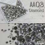 เพชรชวาAA สีดำเงา Black Diamond รหัส AA-03 คละขนาด ss3 ถึง ss30 ปริมาณประมาณ 1300-1500เม็ด