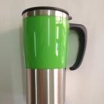 แก้วน้ำสแตนเลส สีเขียว เก็บความร้อน ความเย็น