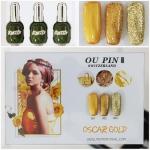สีเจลทาเล็บ OU PIN ชุด3สี ชื่อโทนสี OSCAR GOLD พร้อมกรอบรูป เนื้อสีดี เข้มข้น คุณภาพเหนือราคา