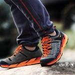 รองเท้าผ้าใบหนังแท้ ยี่ห้อ Merrto รุ่น 8619 สีเทา/ส้ม
