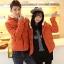 พร้อมส่ง-เสื้อแจคเกตกันหนาวคู่รัก กันลมมีฮู้ดสไตล์เกาหลี สีส้ม XXL thumbnail 1