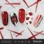 ลายเพ้นท์เล็บ ติดฟอยล์แบบเส้นสีแดง และวาดรูปปากสีแดง thumbnail 1