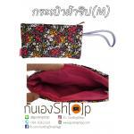 กระเป๋าผ้าซิปลายดอกดำ Size M