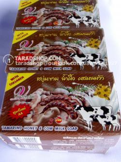 สบู่มะขาม น้ำผึ้ง ผสมนมวัว สูตรใหม่ เกรด AA Vipada (แพ็ค)