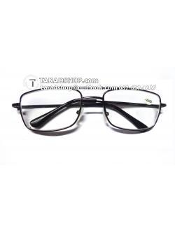 แว่นสายตา ยาว +4.00D ( สีเลนส์ กระจกใส ) สีกรอบ เทาเข้ม ) ขา สแตนเลส