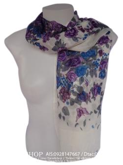ผ้าพันคอ แฟชั่น(ดอกกุหลาบสีฟ้า)