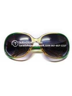 แว่นกันแดด ( สีเลนส์ น้ำตาลเข้ม ) สีกรอบ เขียวเข้มผสมเหลืองอ่อน )