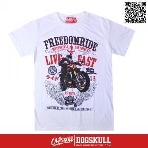 เสื้อยืด OLDSKULL : FREEDOM RIDE | สีขาว