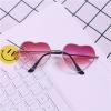แว่นตา รูปหัวใจ ฮาราจูกุ (Harajuku) สีชมพู-แดง กรอบสีทอง (UV400)
