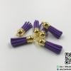 พู่ห้อยกำมะหยี่ สีม่วงเข้ม จุกสีทอง ขนาด 3.5 cm.
