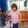 เสื้อแฟชั่น คอปีน แขนยาว ปักลายการ์ตูน สีชมพู