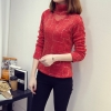 เสื้อแฟชั่น คอเต่า แขนยาว ผ้าแต่งเลื่อม แต่งด้วยไนล่อน สีแดง