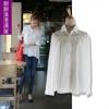 Pre-เสื้อเชิ้ตคอปกสีขาวแขนยาว แต่งลูกไม้ตรงบ่า