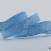 ริบบิ้นผ้า กรอสเกรน สีฟ้า พิมพ์ลายโบว์ ขนาด 9 มิล