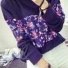 เสื้อแฟชั่น คอกลม แขนยาว ลายดอกไม้ สีน้ำเงินเข้ม