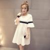 เสื้อแฟชั่น คอกลม แขนตุ๊กตา แถบคาด แขนสั้น สีขาว