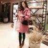 เสื้อโค้ท แขนยาว กระดุมหน้า ผ้าสำลี สีชมพู