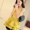 พร้อมส่ง-เสื้อแฟชั่นสไตล์เกาหลี แต่งระบาย สีเหลือง พร้อมเข็มขัด