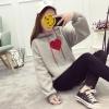 (ภาพจริง)เสื้อกันหนาวแฟชั่น มีฮูด แขนยาว ลายหัวใจ สีเทา