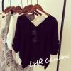 (ภาพจริง)เสื้อแฟชั่น คอวี แขนค้างคาว ผ้าpolyester สีดำ