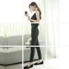 จั๊มสูท แขนกุด คอวี กางเกง5 ส่วน สีดำ (สามารภรูปซิบแยกออกจากกันได้)