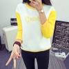 เสื้อแฟชั่น แขนยาวทูโทน บุกันหนาว ลาย Beauty เสื้อสีขาวแขนสีเหลือง