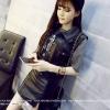 เสื้อกั๊กแจ๊คเก๊ต คอเชิ๊ต แขนกุด ผ้าหนัง PU สีดำ