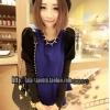 เสื้อแฟชั่น คอกลม แขนยาวตุ๊กตาสีทูโทน ผ้าสำลี สีฟ้า